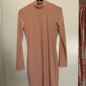 Women's Nude colored Knee length Bodycon Dress